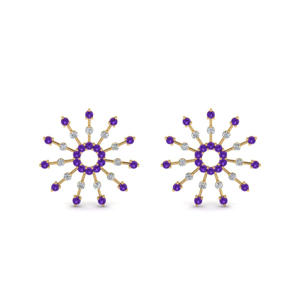 diamond stud circle earring with purple topaz in 14K yellow gold FDEAR8867GVITO NL YG