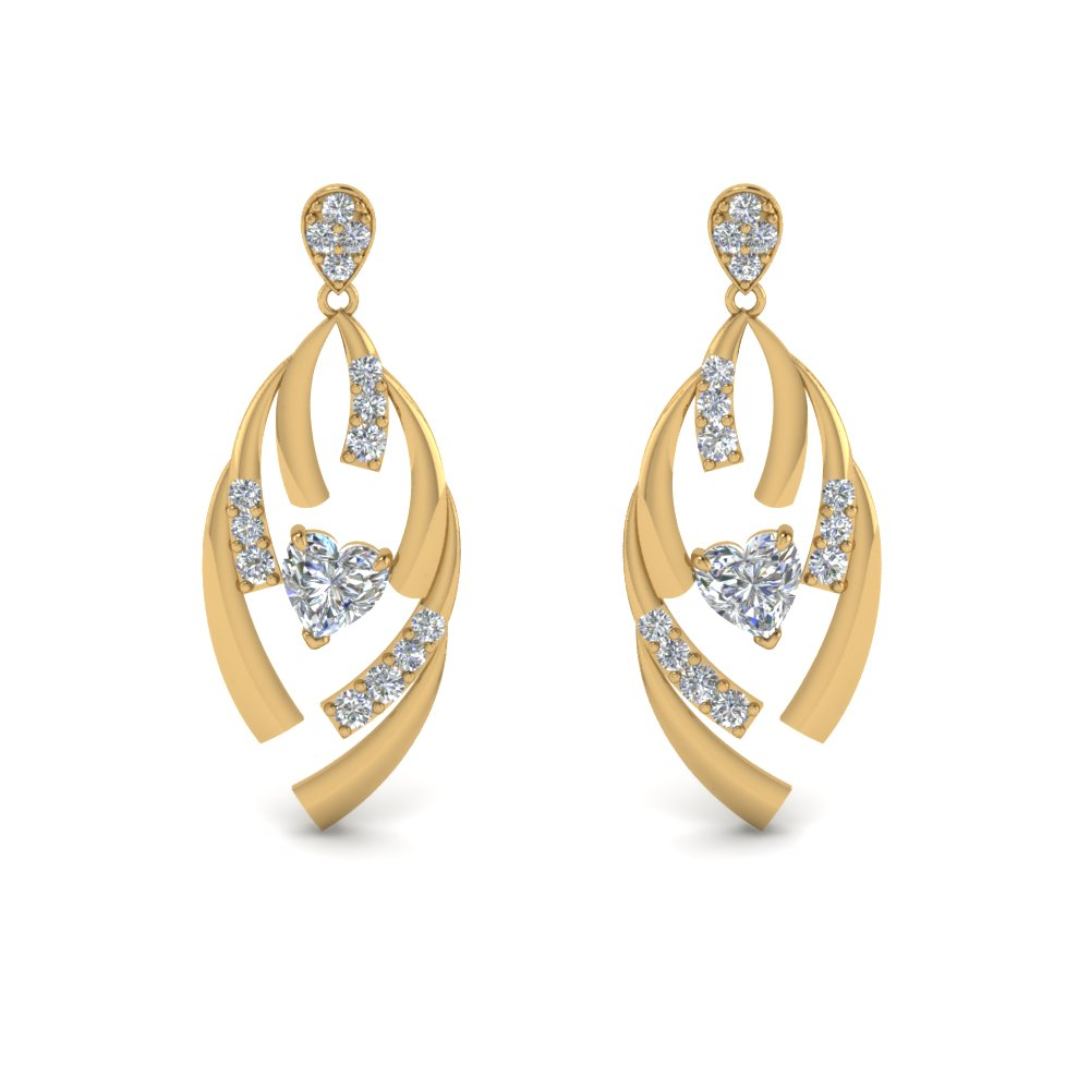 061676b91 Diamond Stud Drop Heart Earring In 14K Yellow Gold | Fascinating ...
