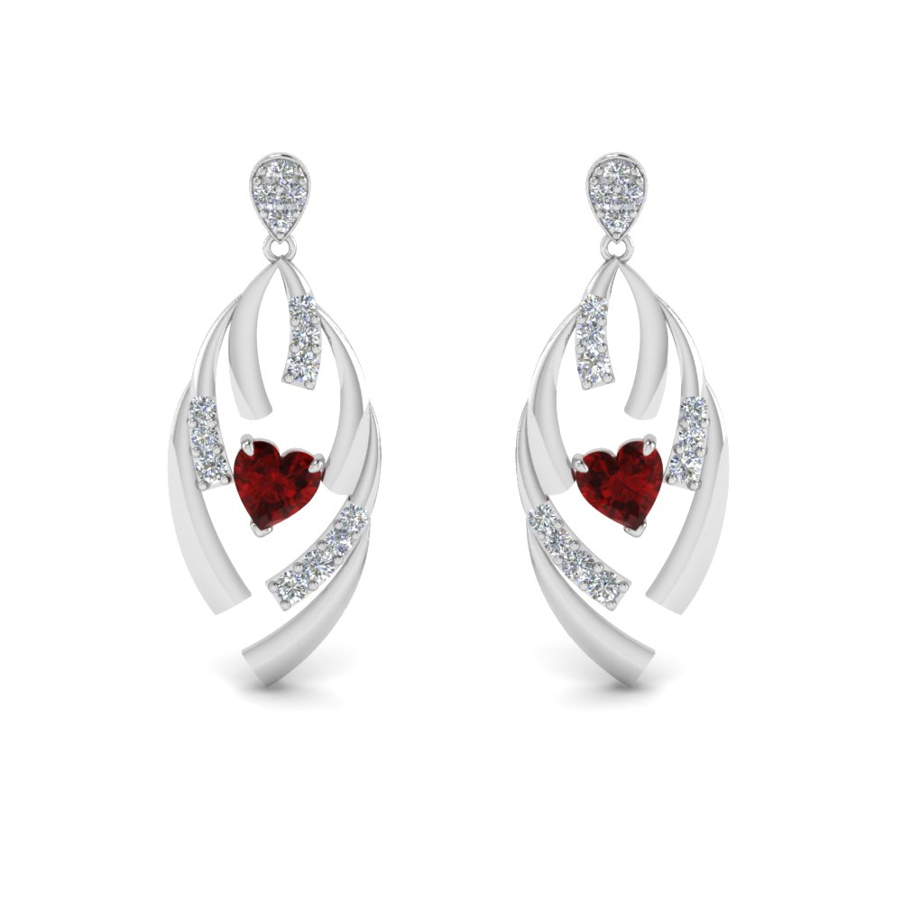 18K White Gold Drop Heart Earring