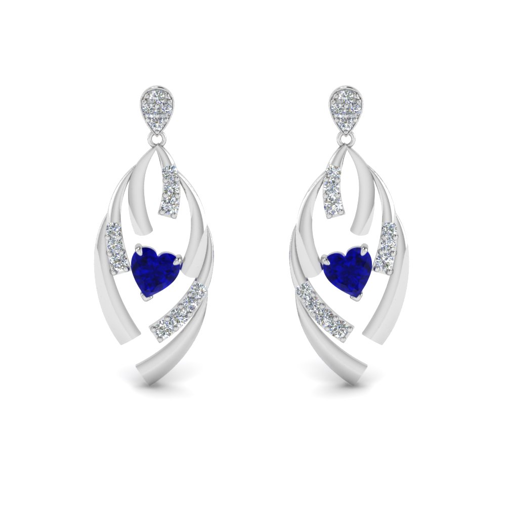 14K White Gold Stud Drop Earring
