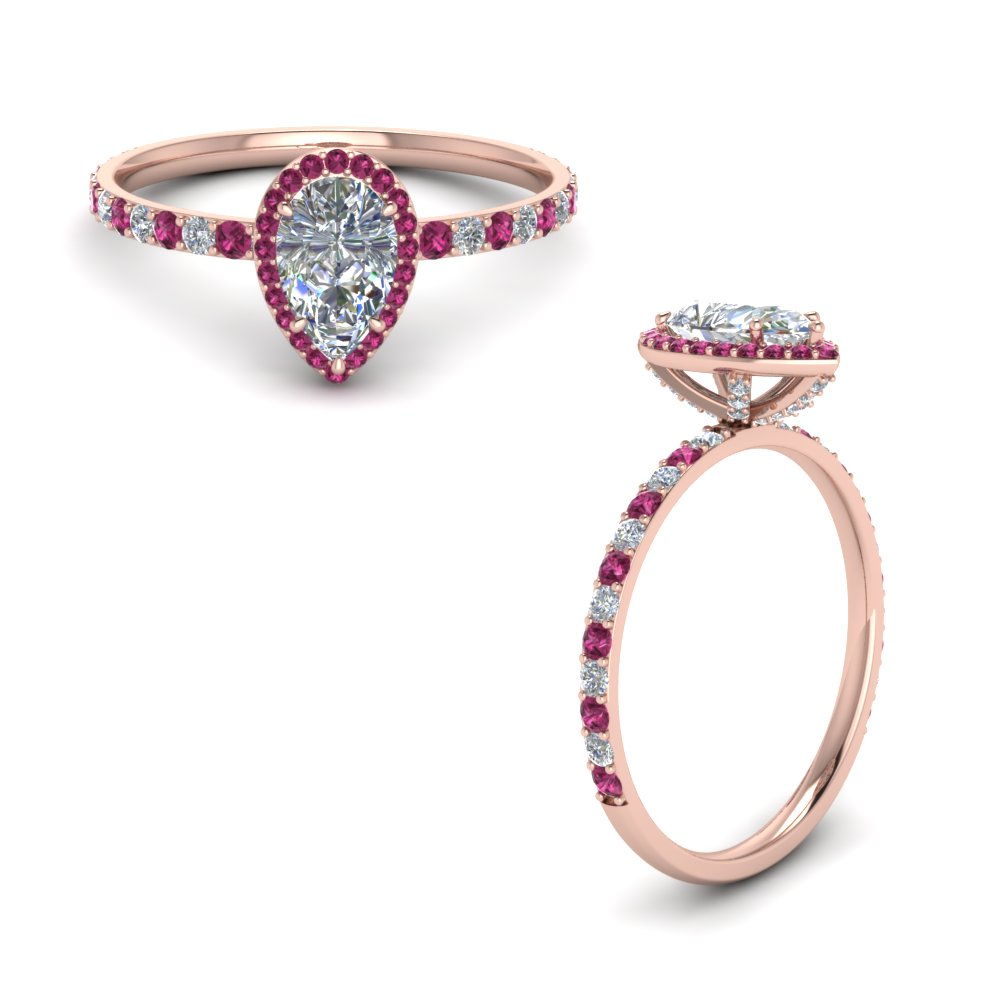 diamond studded prong pear halo ring with pink sapphire in FD8514PERGSADRPIANGLE1 NL RG