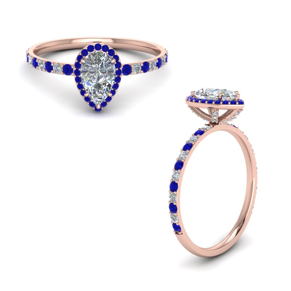 diamond studded prong pear halo ring with sapphire in FD8514PERGSABLANGLE1 NL RG