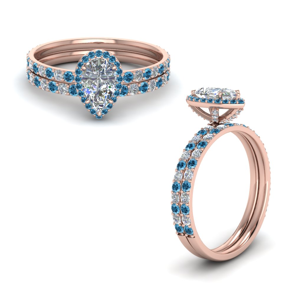 diamond studded prong pear halo wedding set with blue topaz in FD8514PEGICBLTOANGLE1 NL RG