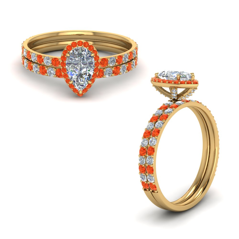 diamond studded prong pear halo wedding set with orange topaz in FD8514PEGPOTOANGLE1 NL YG