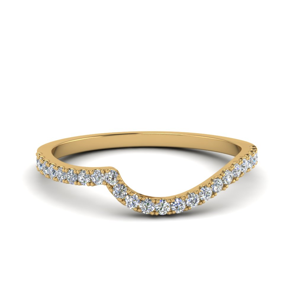 Diamond Swirl Band In 14K Yellow Gold