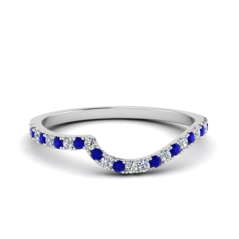 diamond swirl band with blue sapphire in 14K white gold FDOV50895BGSABL NL WG