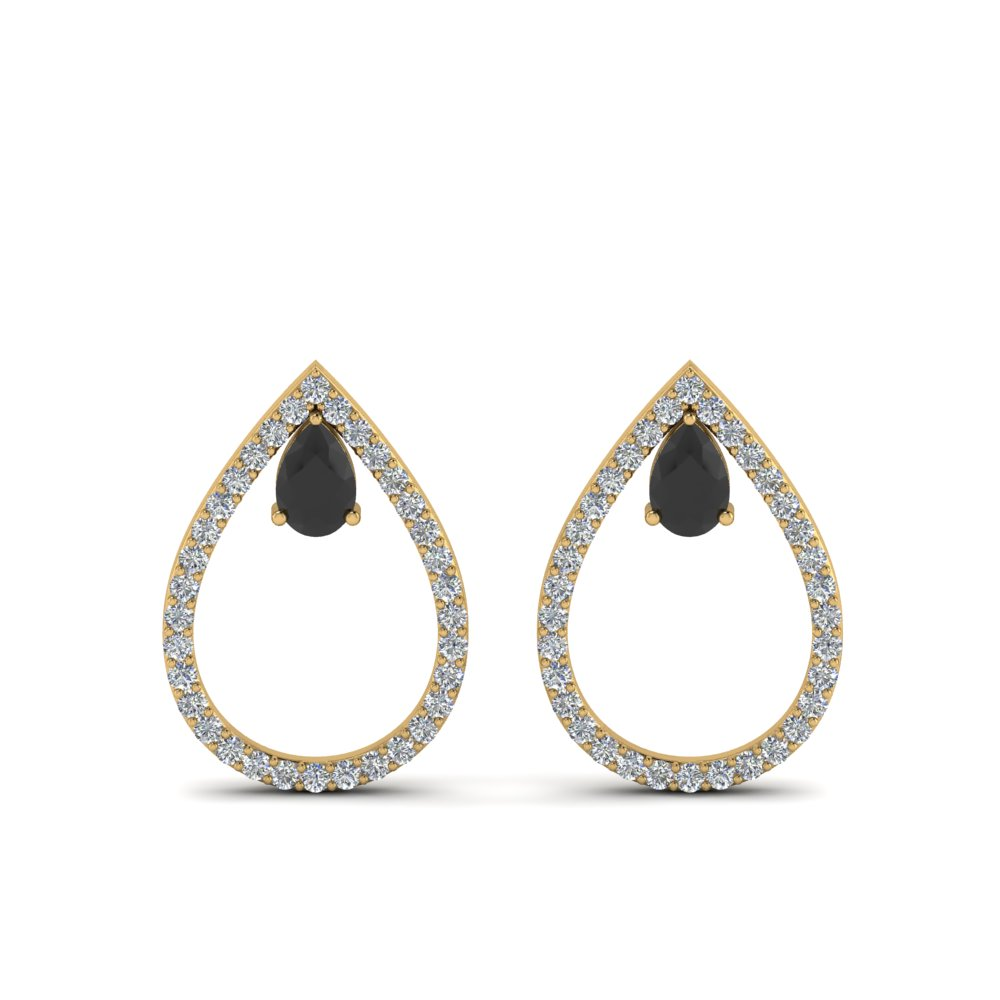 teardrop black diamond stud earring in 14K yellow gold FDEAR8859GBLACK NL YG