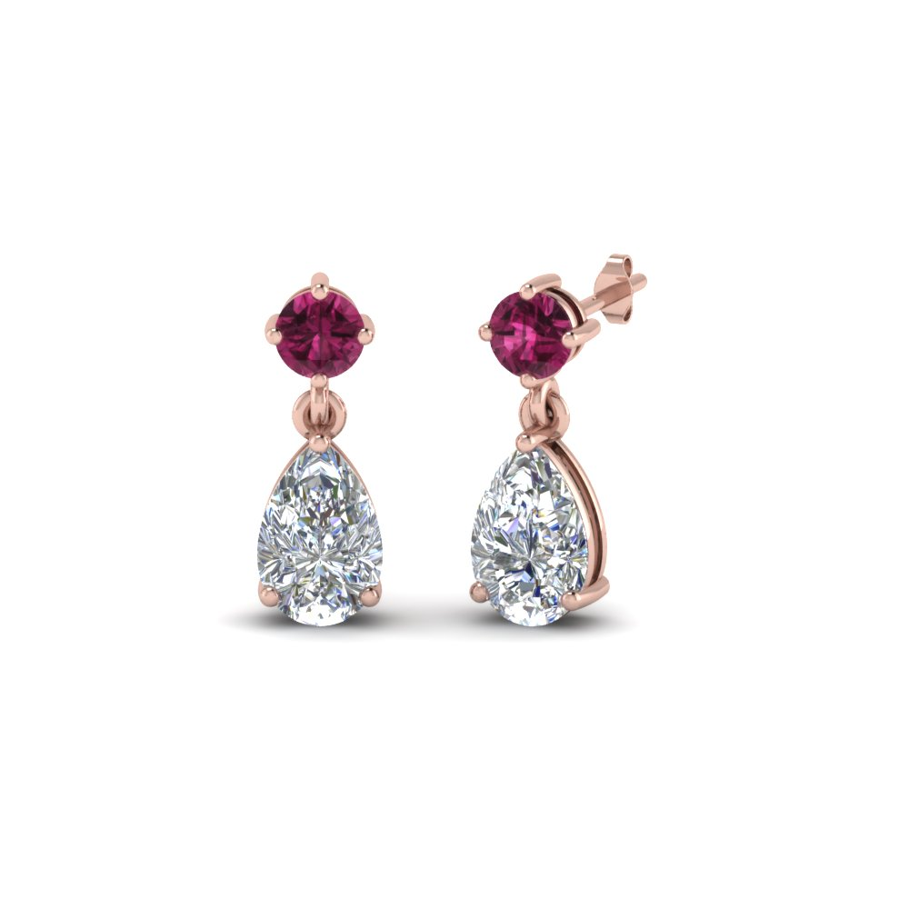 diamond teardrop earring for mom with pink sapphire in FDEAR8386GSADRPI NL RG
