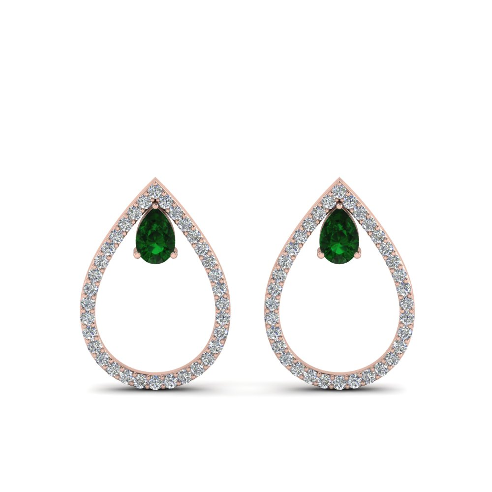 diamond teardrop emerald stud earring in 14K rose gold FDEAR8859GEMGR NL RG