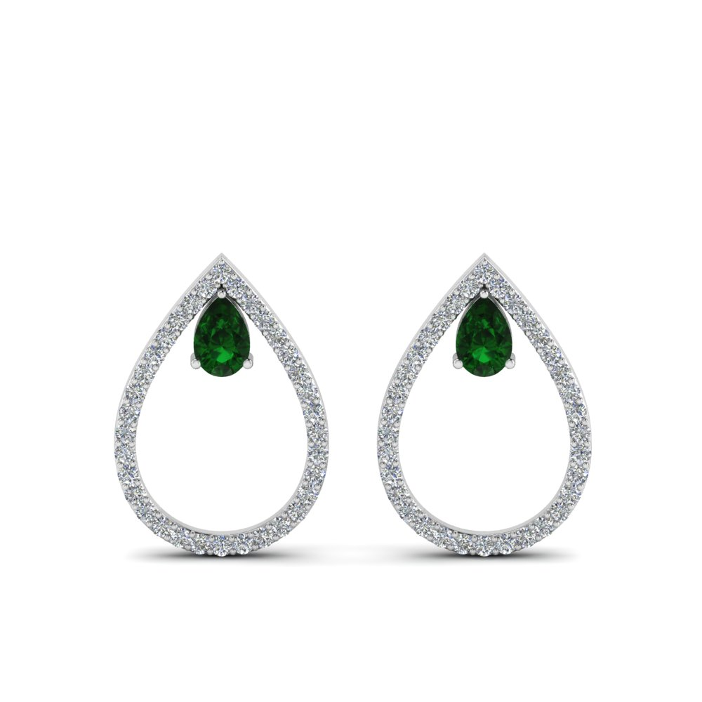 18K White Gold Teardrop Stud Earring