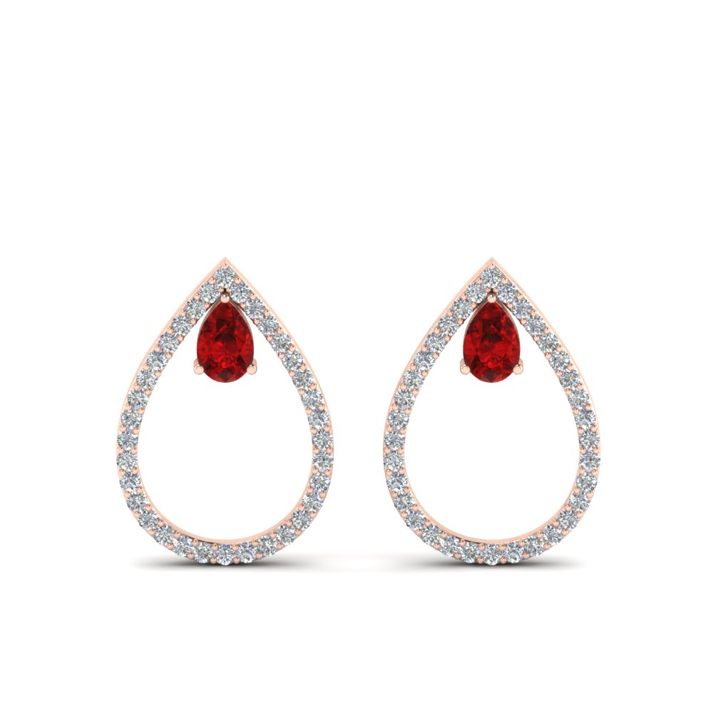 diamond teardrop ruby stud earring in 14K rose gold FDEAR8859GRUDR NL RG
