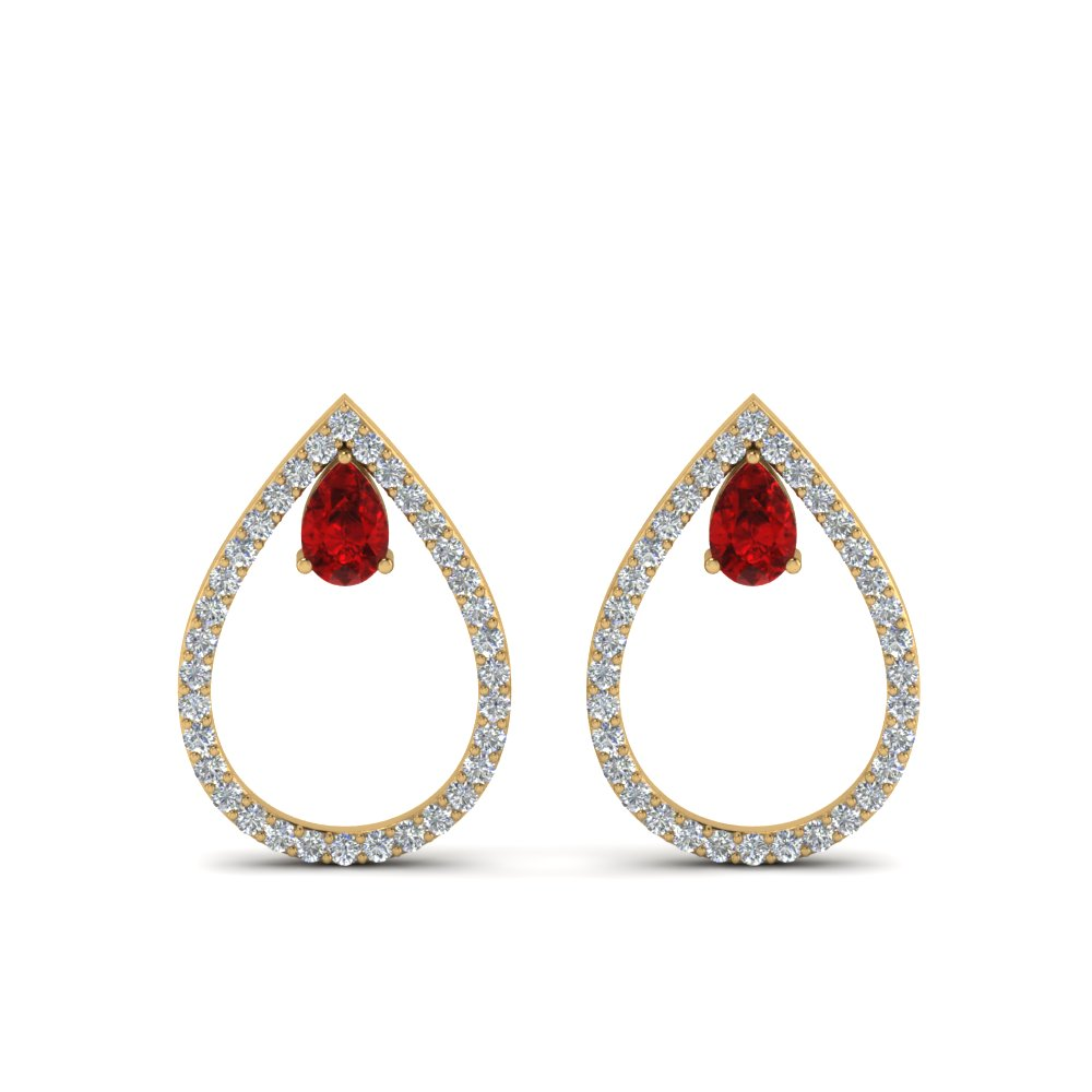 diamond teardrop ruby stud earring in 14K yellow gold FDEAR8859GRUDR NL YG