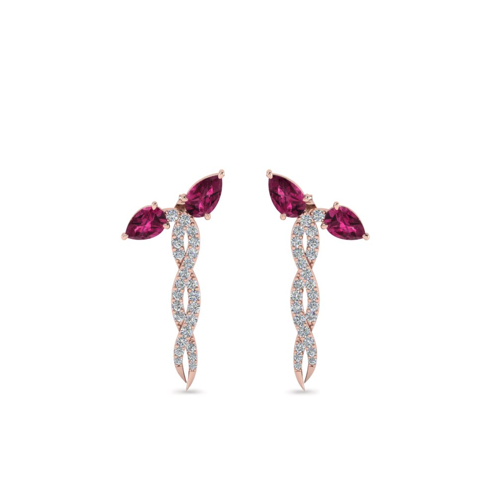 Pear Diamond Twisted Earring