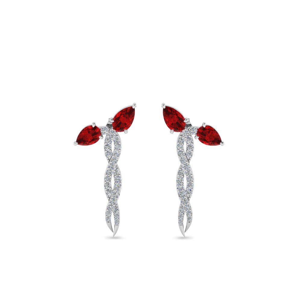 diamond twisted snake earring with ruby in FDEAR8464GRUDR NL WG