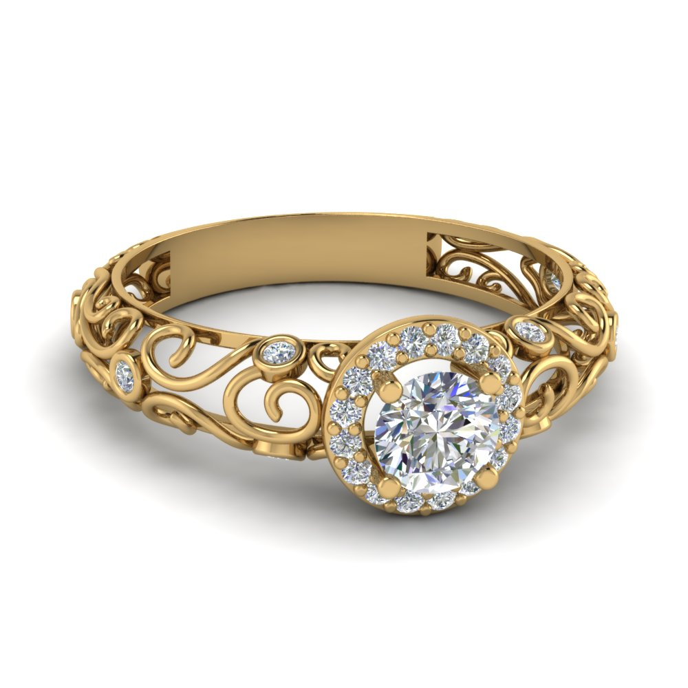 Dome Filigree Halo Vintage Round Diamond Engagement Ring In 14K Yellow Gold