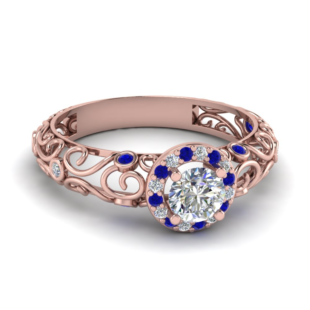 dome filigree halo vintage round diamond engagement ring with blue sapphire in 14K rose gold FD1199RORGSABL NL RG