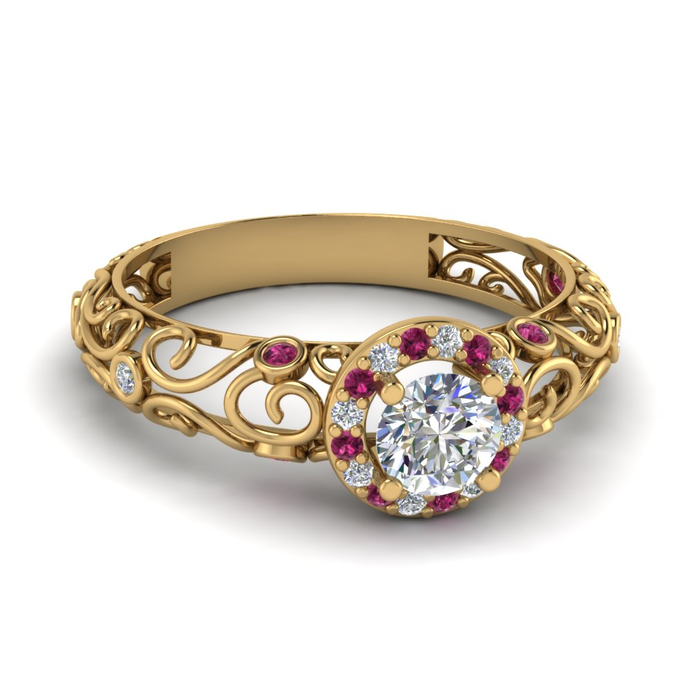 14k yellow gold round cut pink sapphire vintage engagement