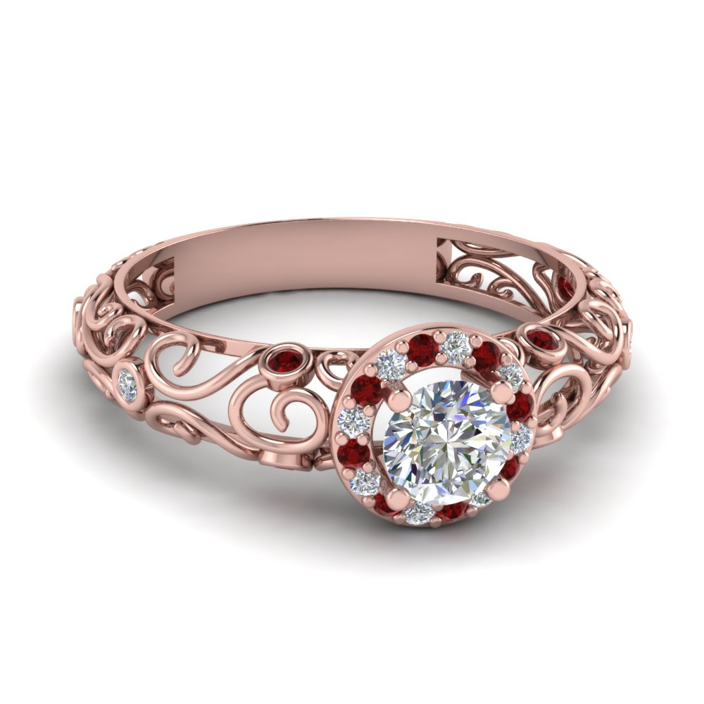 dome filigree halo vintage round diamond engagement ring with ruby in 14K rose gold FD1199RORGRUDR NL RG