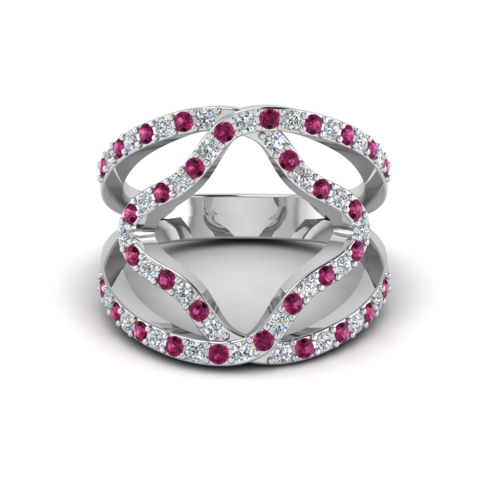 double band open abstract diamond ring womens wedding rings with pink sapphire in 14k white gold - Double Band Wedding Ring