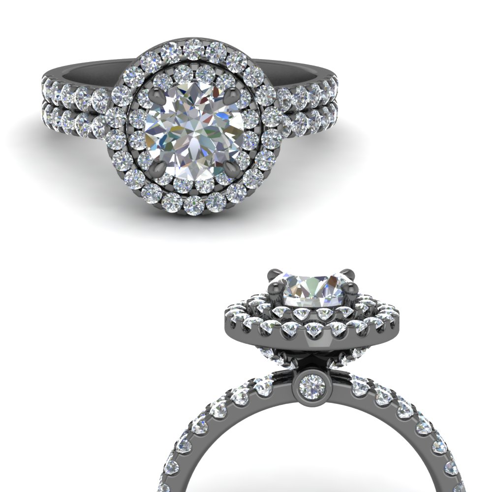 round halo double band moissanite engagement ring in FD9141RORANGLE3 NL BG.jpg
