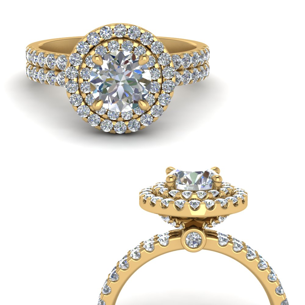 double band round halo diamond engagement ring in FD9141RORANGLE3 NL YG.jpg