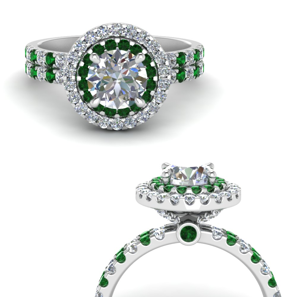 double band round halo diamond engagement ring with emerald in FD9141RORGEMGRANGLE3 NL WG.jpg