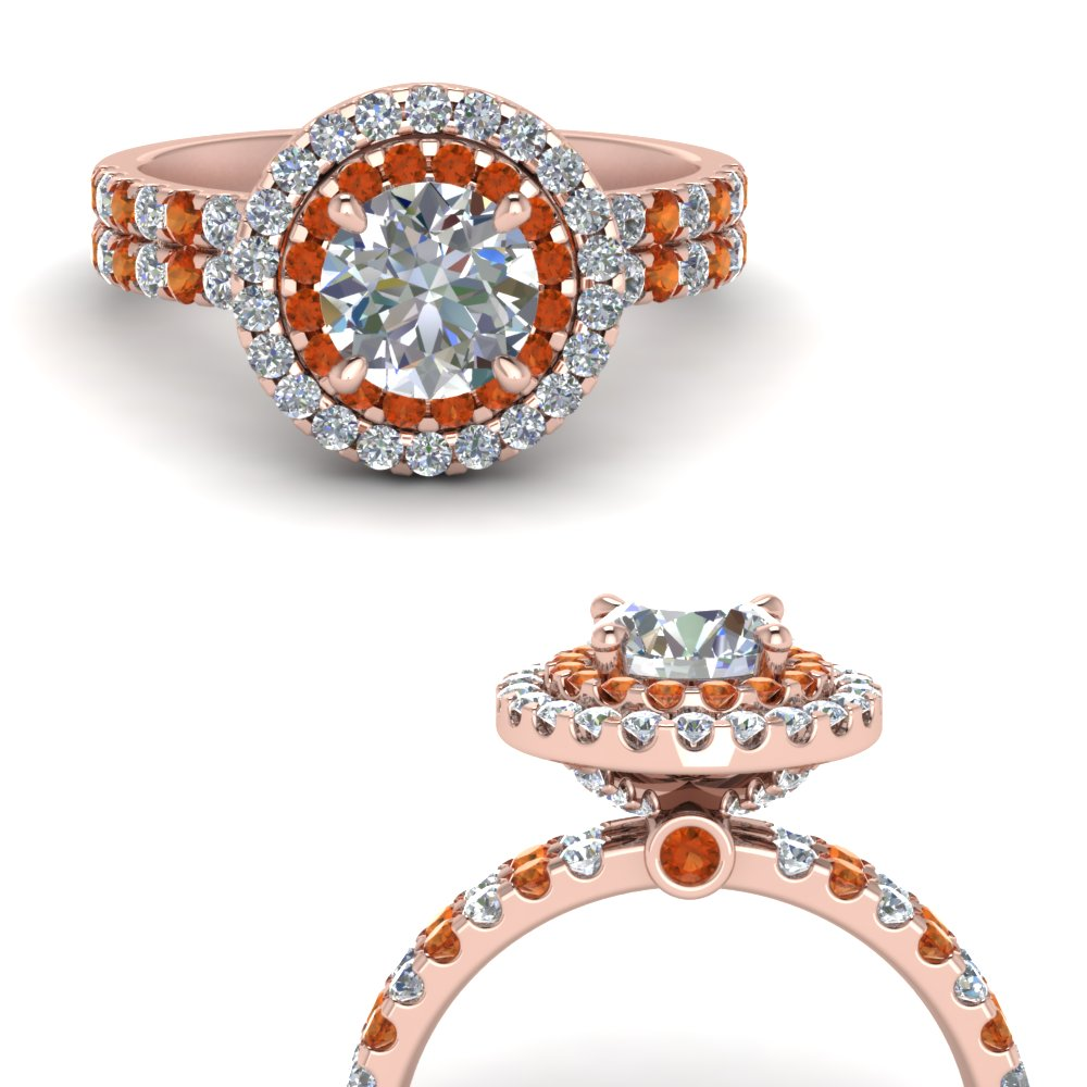 double band round halo diamond engagement ring with orange sapphire in FD9141RORGSAORANGLE3 NL RG.jpg