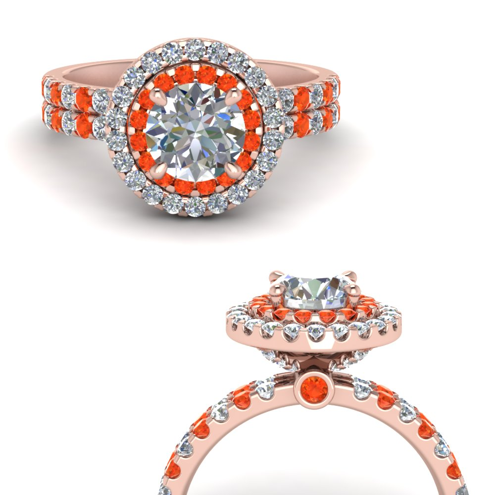 double band round halo diamond engagement ring with orange topaz in FD9141RORGPOTOANGLE3 NL RG.jpg