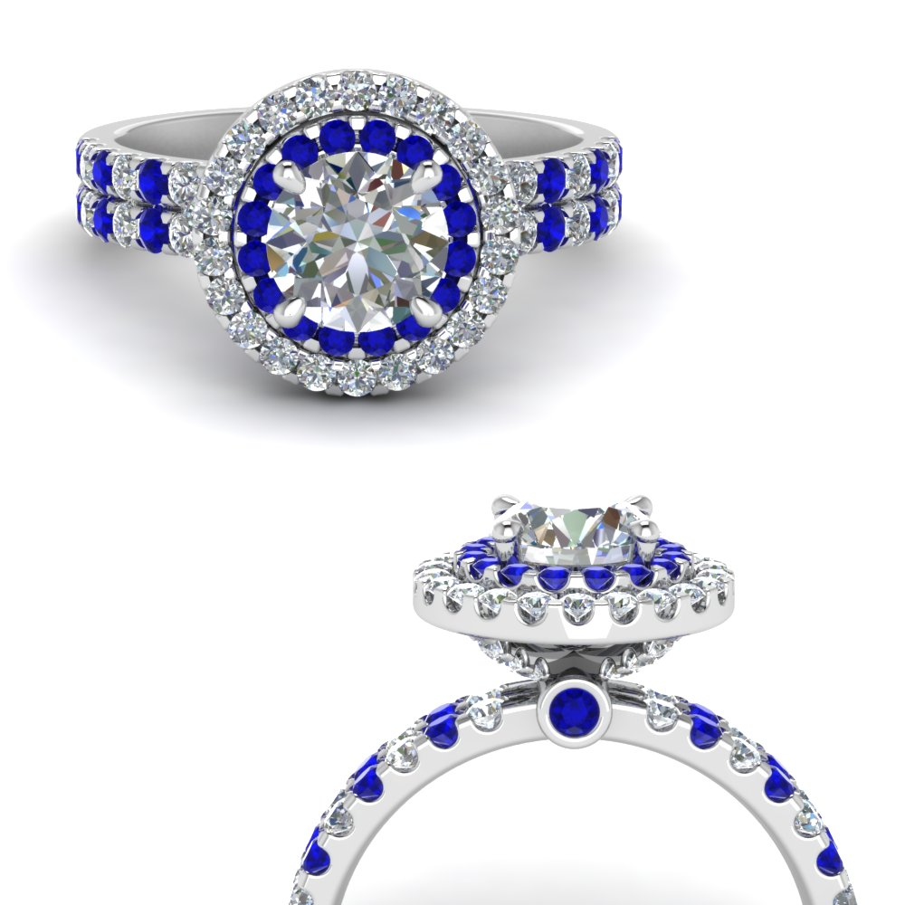 double band round halo diamond engagement ring with sapphire in FD9141RORGSABLANGLE3 NL WG.jpg