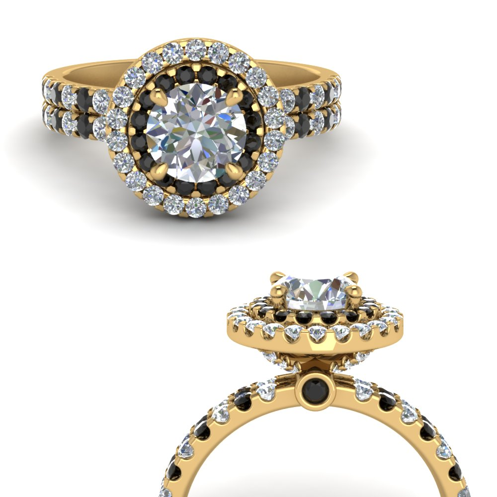 double band round halo engagement ring with black diamond in FD9141RORGBLACKANGLE3 NL YG.jpg