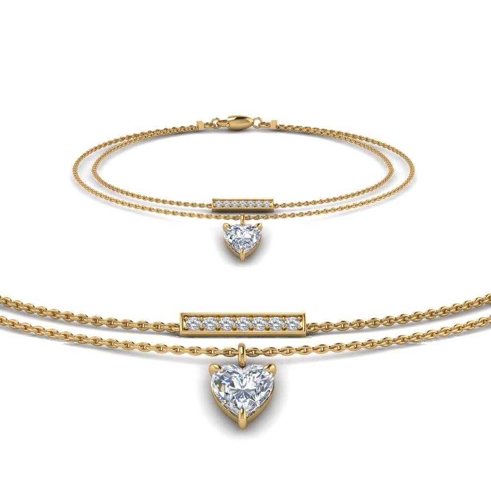 double chain heart drop diamond bracelet in FDBRC8447 NL YG