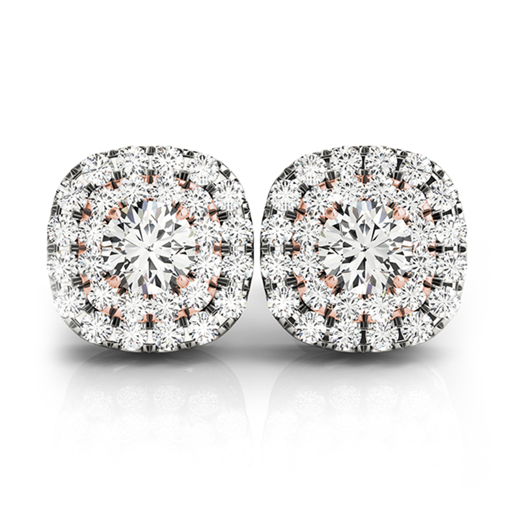 5d2bc9eb7 Double Halo 2 Tone Stud Earring In 14K Rose Gold | Fascinating Diamonds