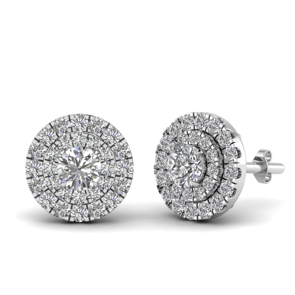 877787c78 Double Halo Diamond Stud Earring In 14K White Gold | Fascinating ...