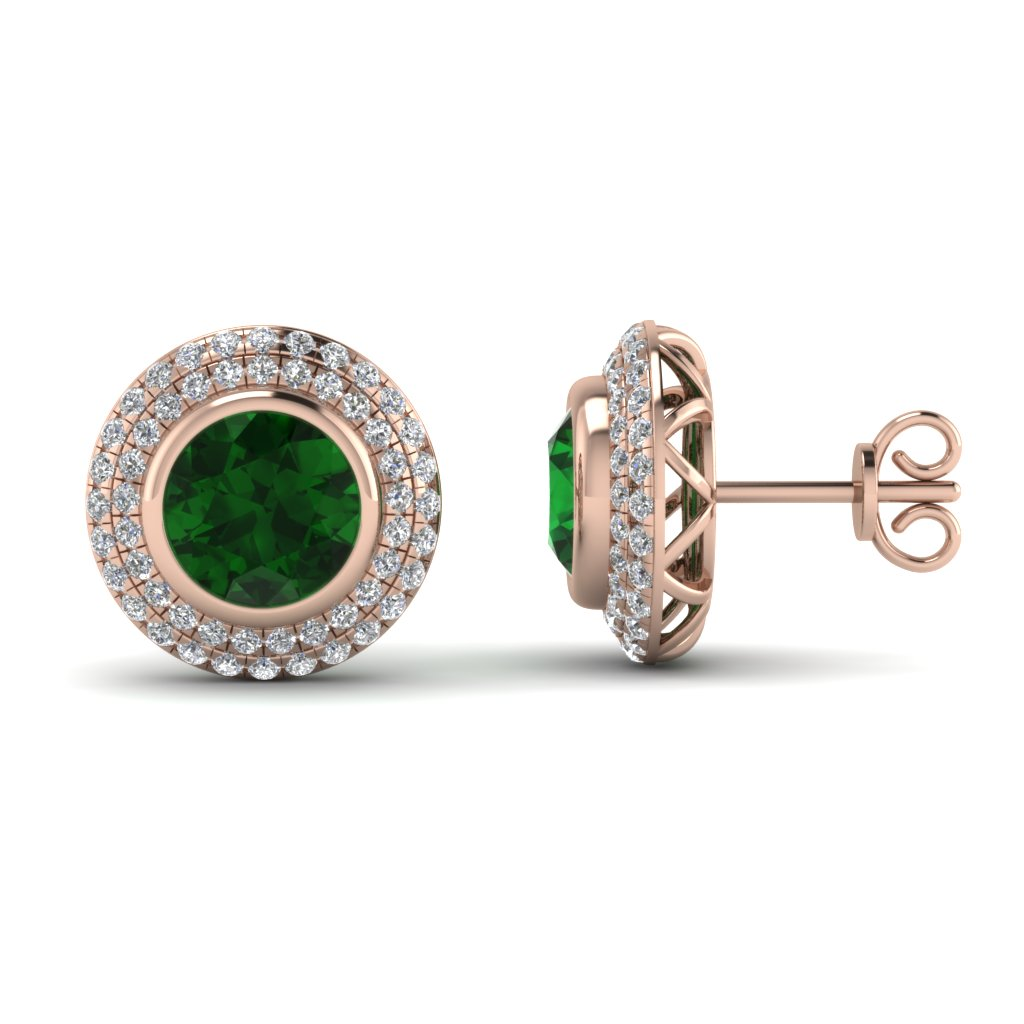 Double Halo Diamond Stud Earring With Emerald In 18k Rose Gold Fdear69313gemgr Nl Rg