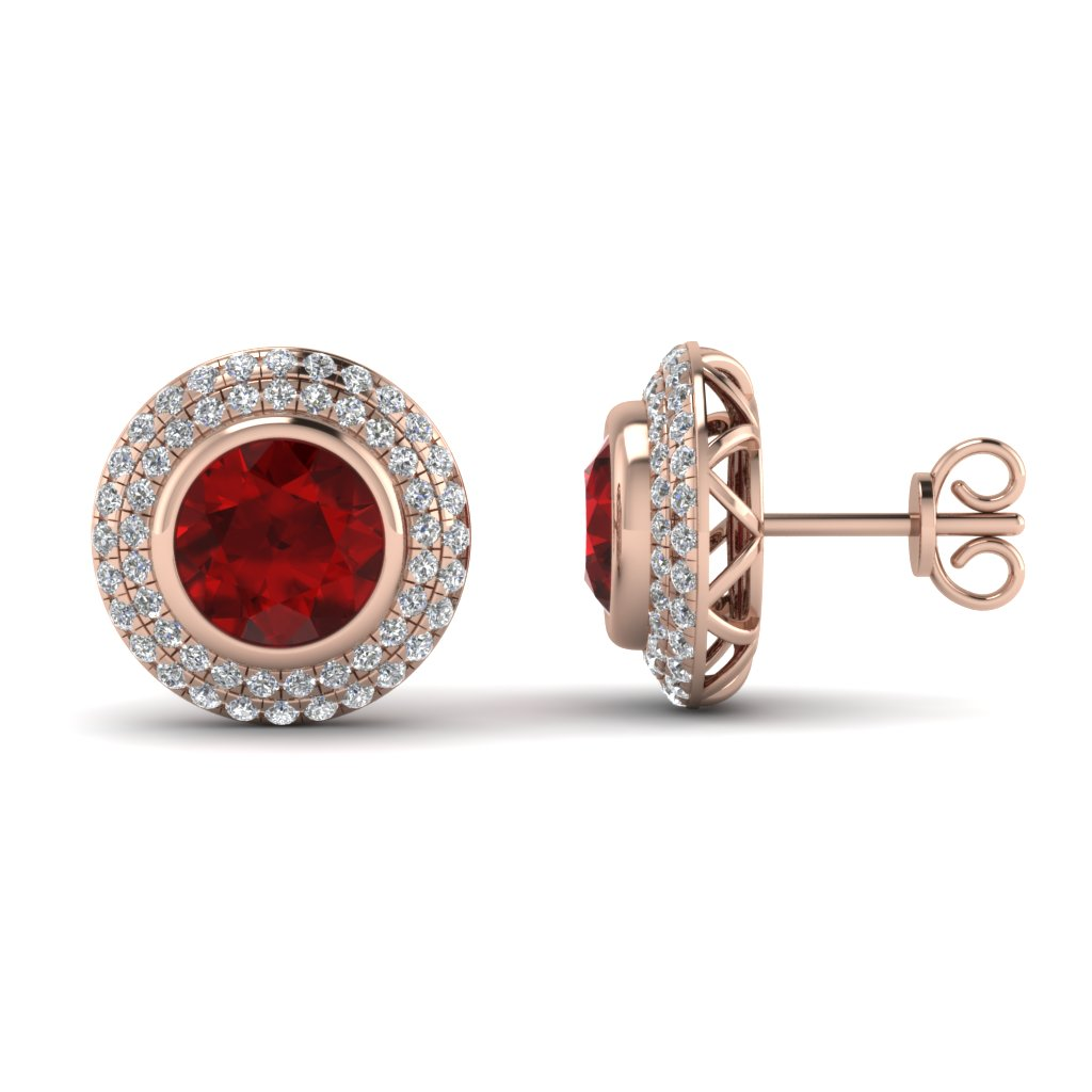 Double Halo Diamond Stud Earring With Ruby In 14K Rose Gold