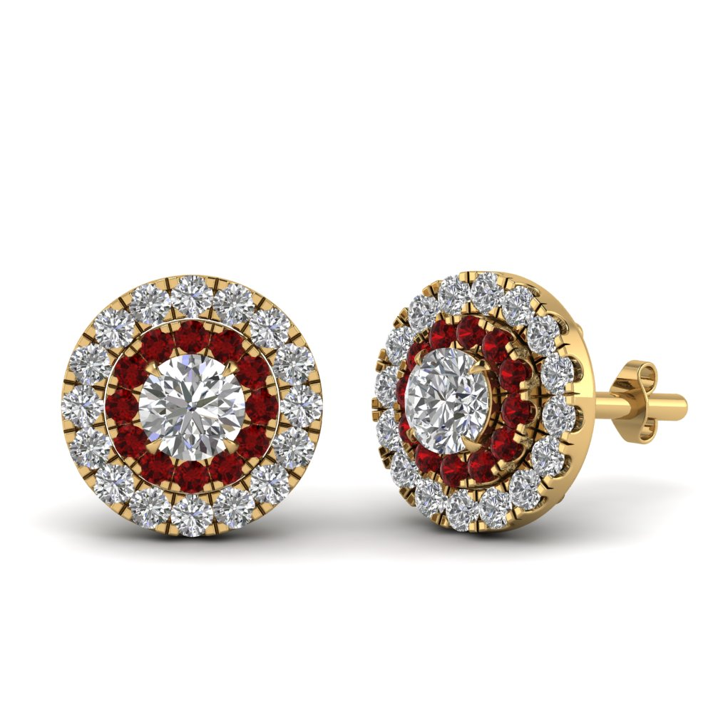 Ruby Halo Stud Earring