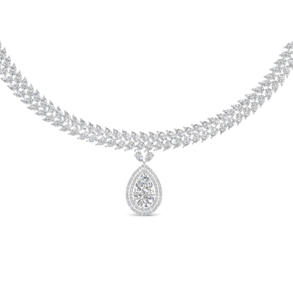 pear pendant diamond center gold shaped filigree white fi