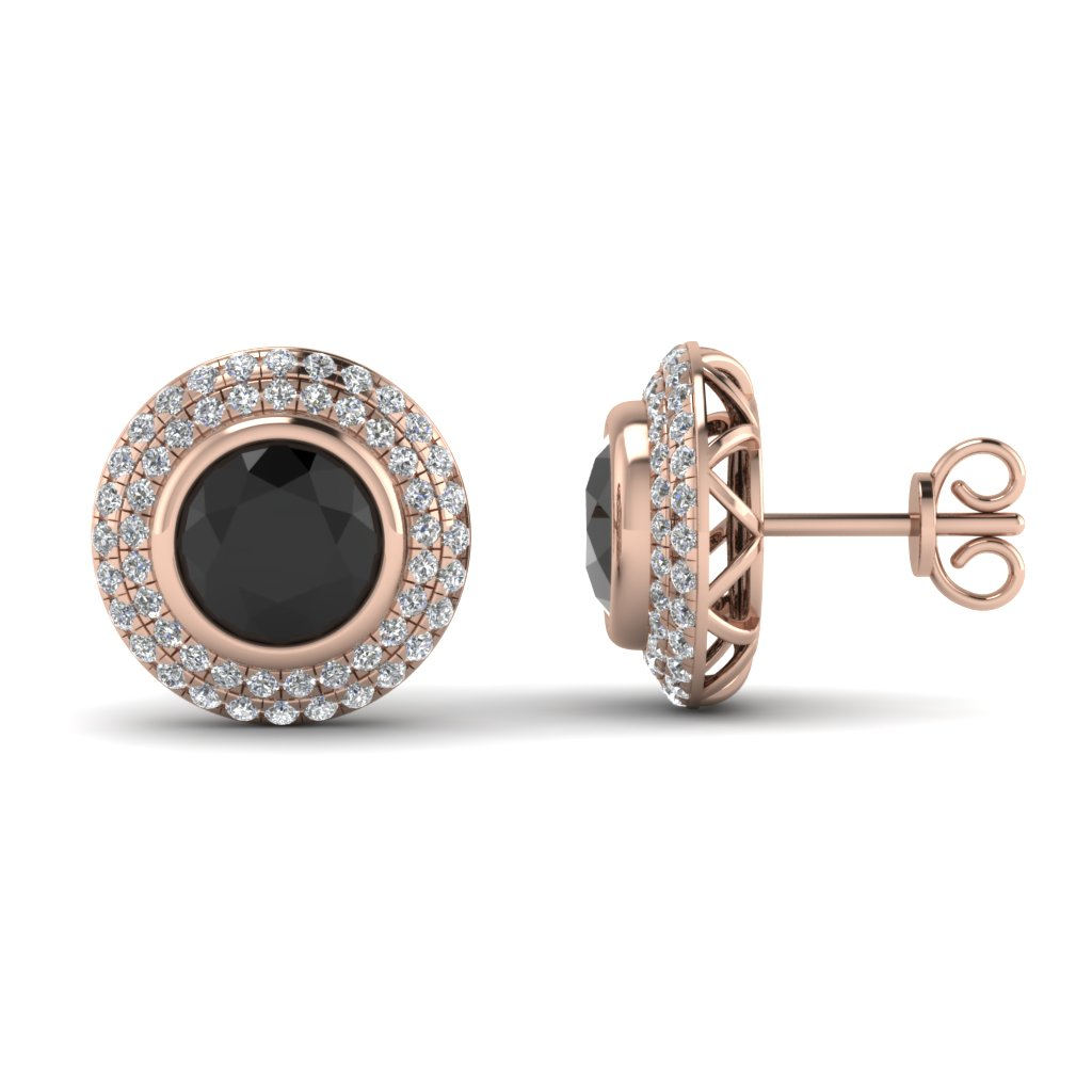 Double Halo Stud Earring With Black Diamond In 18k Rose Gold Fdear69313gblack Nl Rg