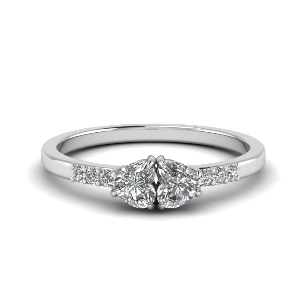 Double Heart Anniversary Diamond Engagement Ring In 14K White Gold