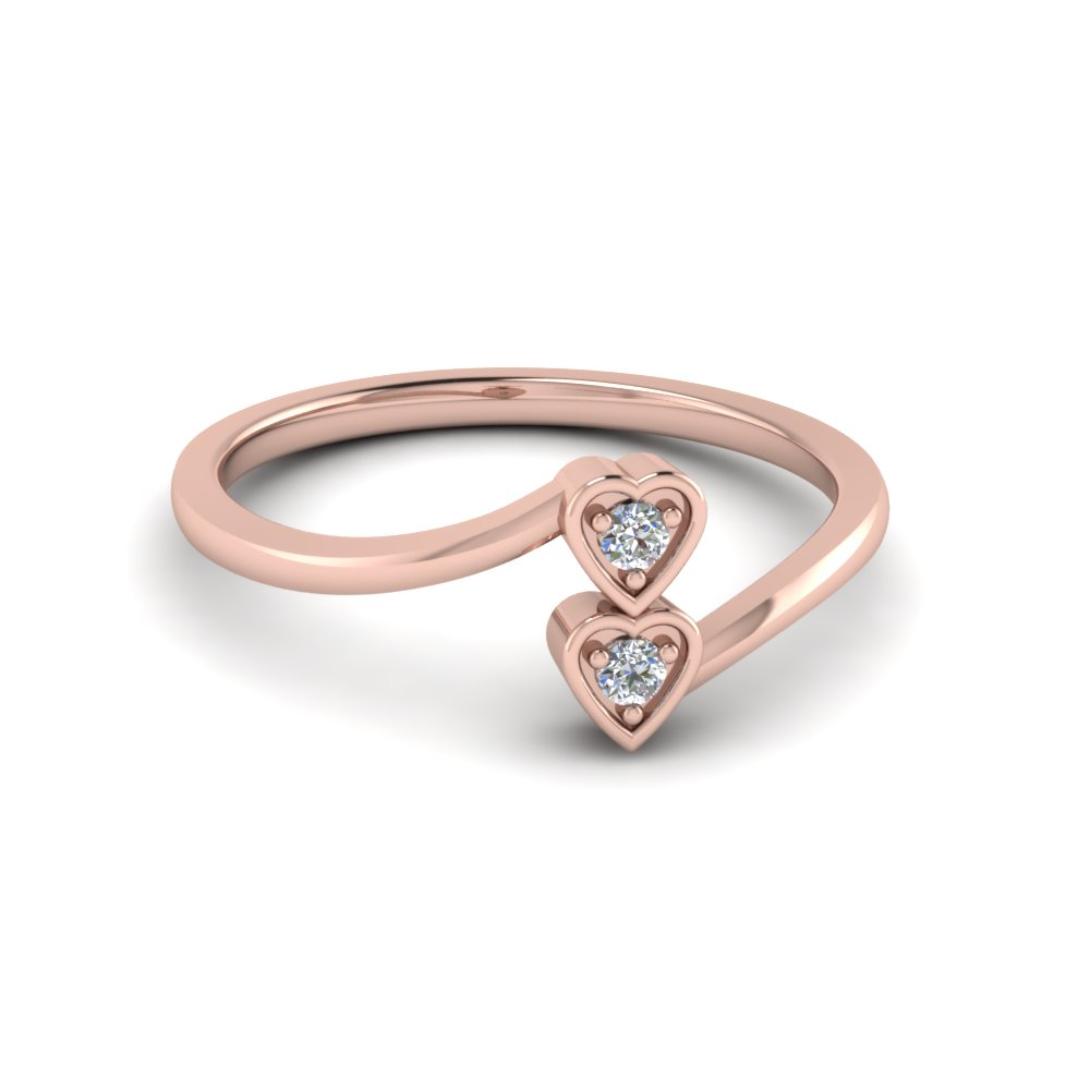 Affordable 2 Hearts Crossover Promise Ring for Women in Rose Gold