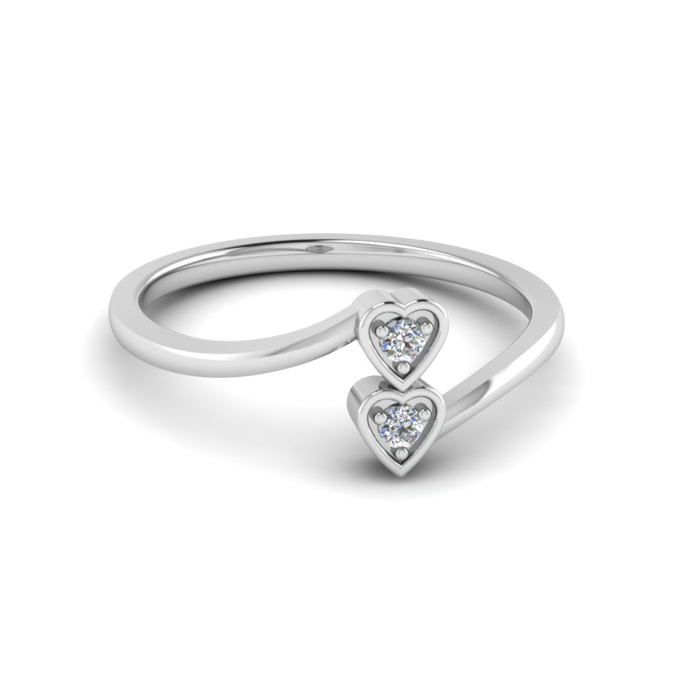 Double Heart Diamond Crossover Alternate Engagement Ring In 14K White Gold