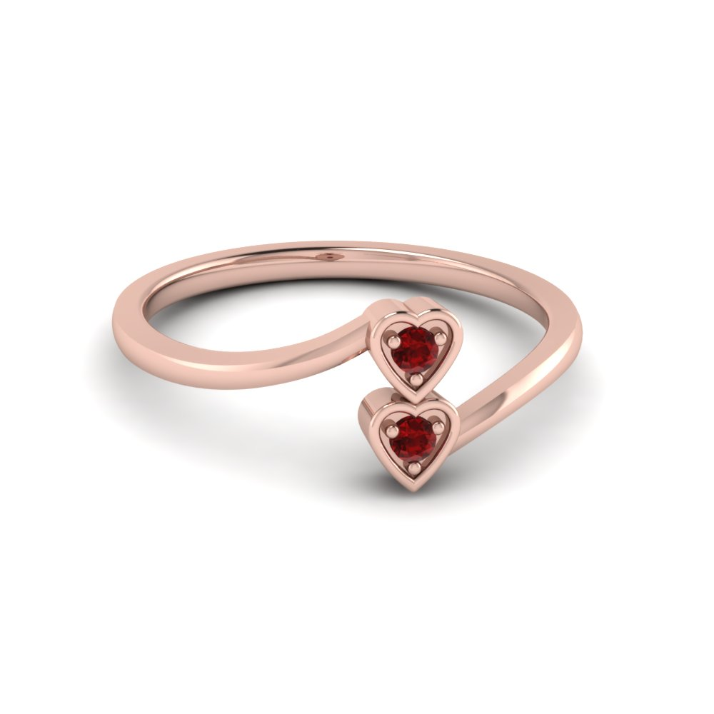 Double Heart Diamond Crossover Alternate Engagement Ring With Ruby