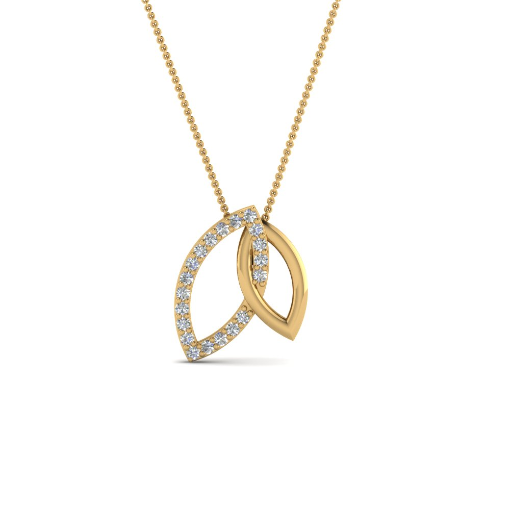 double open marquise linked pendant in 14K yellow gold FDPD86463ANGLE2 NL YG