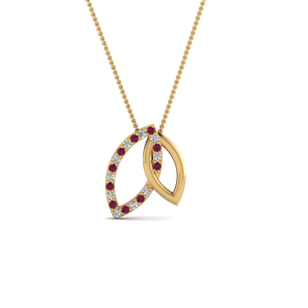 Cheap Pink Sapphire Pendant Necklace For Her
