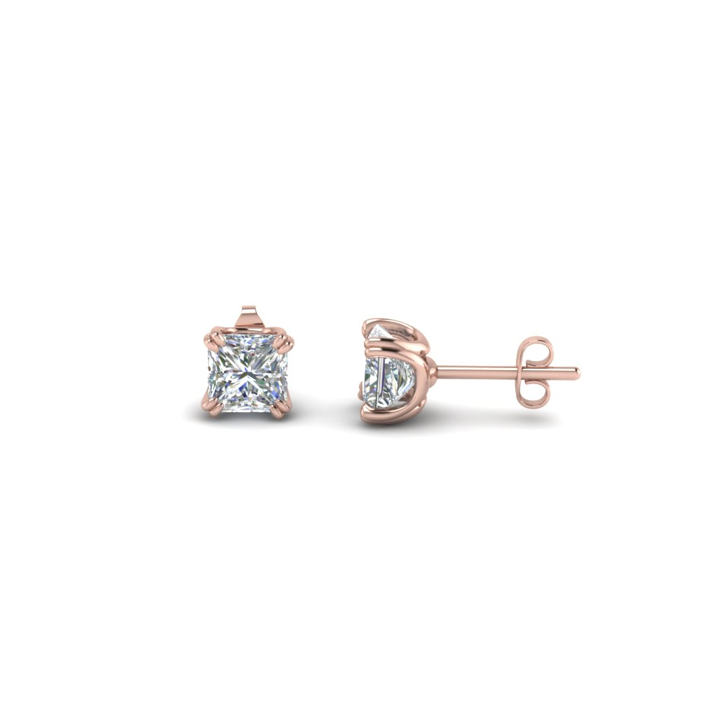 three gold stud carat earrings in white prong ctw diamond