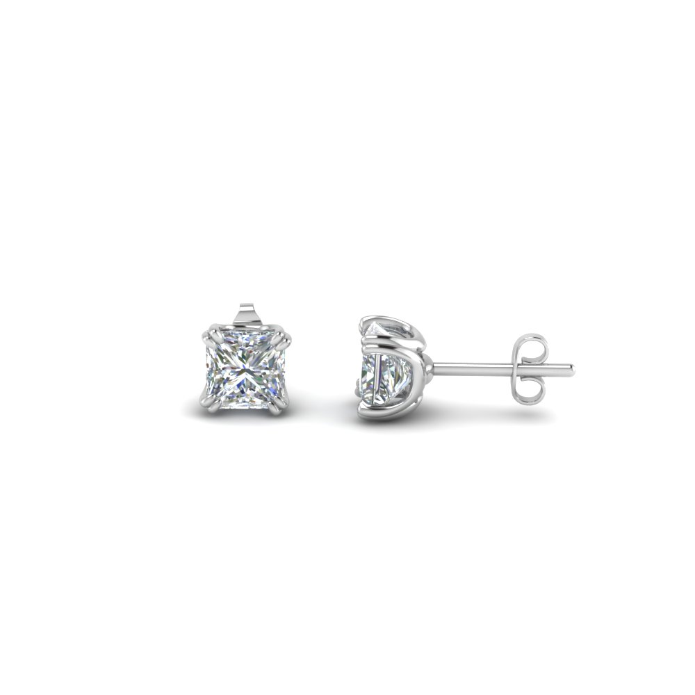 1 Carat Princess Cut Stud Earrings