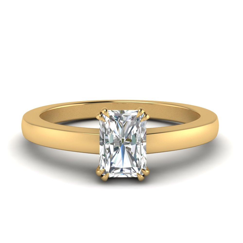 double prong radiant cut solitaire engagement ring in FDENR321RAR NL YG