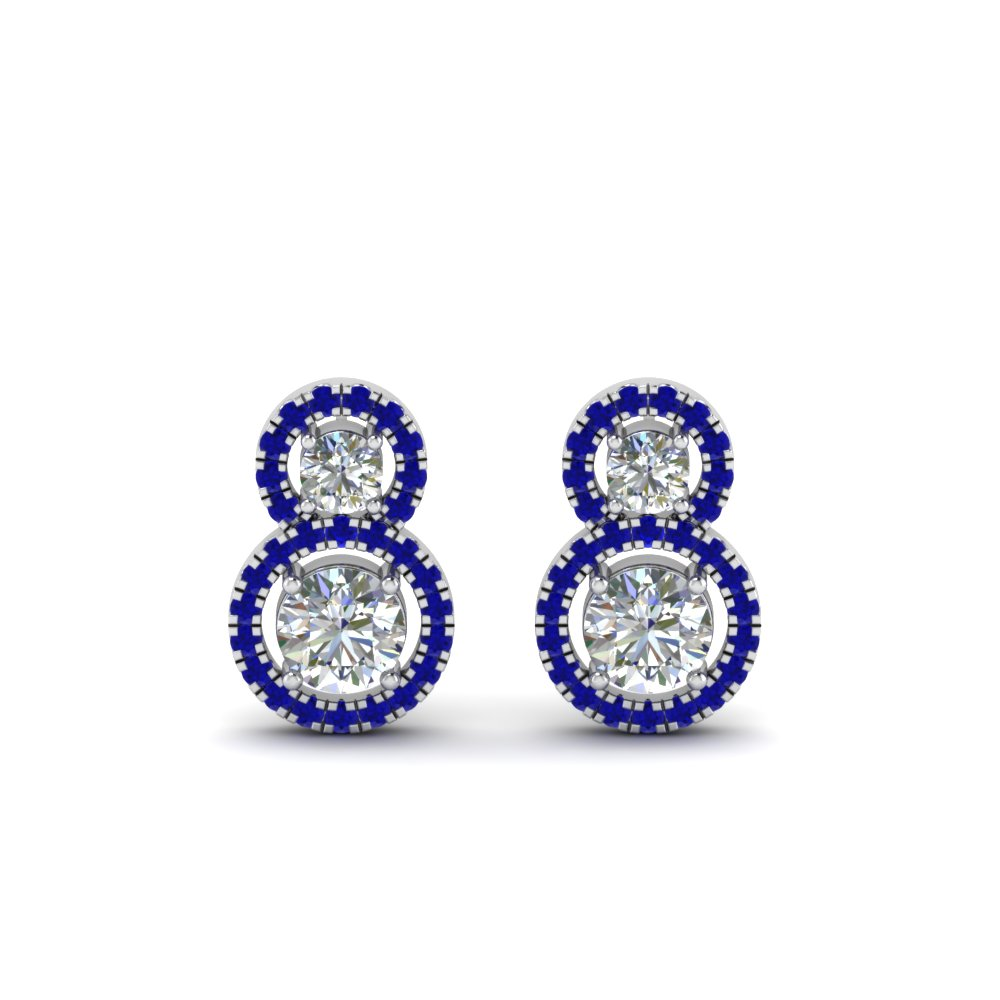 Dual Drop Halo Earring With Sapphire