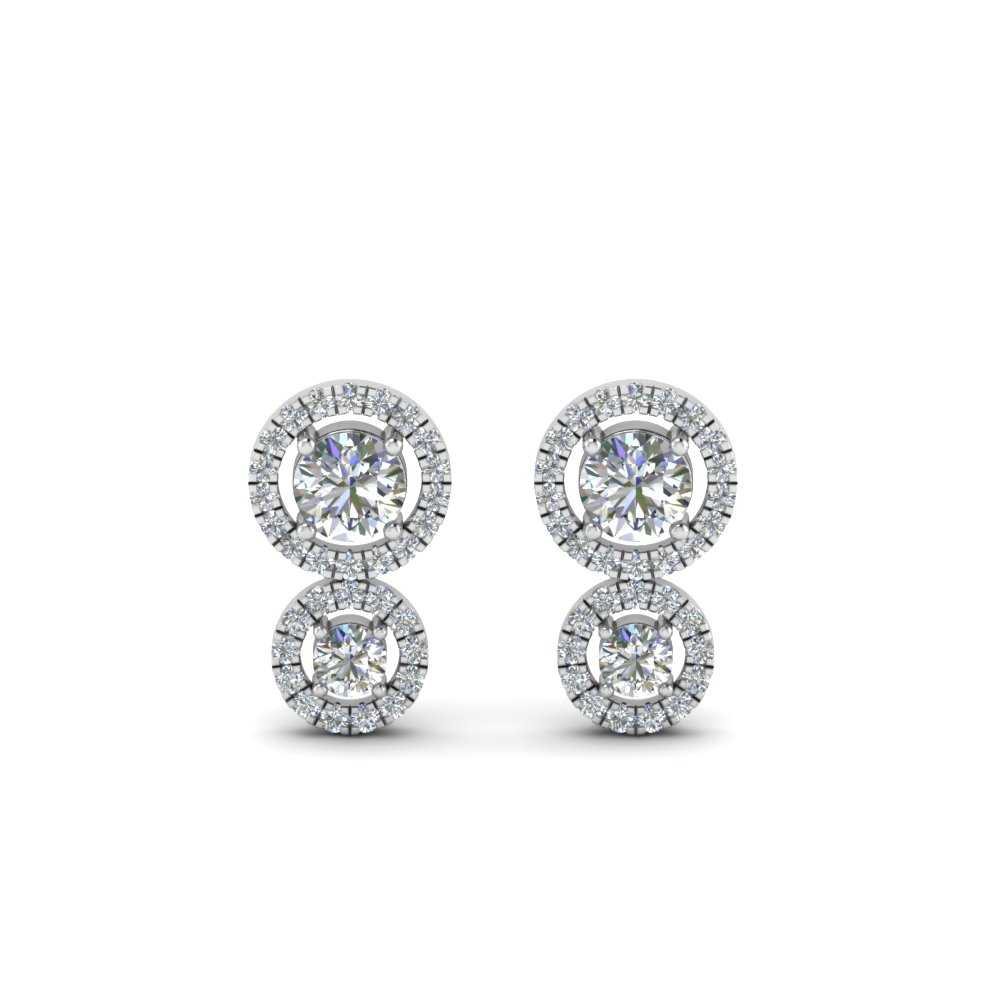 dual halo diamond stud earring in sterling silver FDEAR8974ANGLE1 NL WG