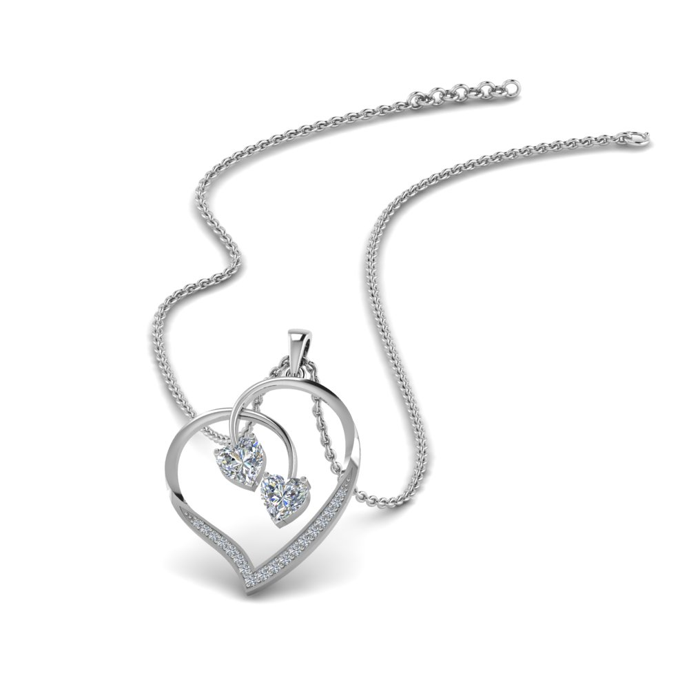 Dual Heart Drop Diamond Pendant